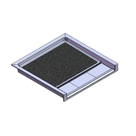 37.5 x 36.75 Accessible Front Trench Drain Meridian Solid Surface Shower Base