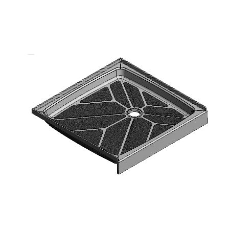 37.5 x 36.75 Offset Drain Meridian Solid Surface Shower Base