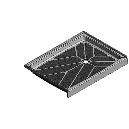 49.5 x 36.75 Offset Drain Meridian Solid Surface Shower Base