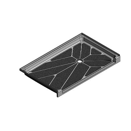 61.5 x 36.75 Accessible Offset Drain Meridian Solid Surface Shower Base