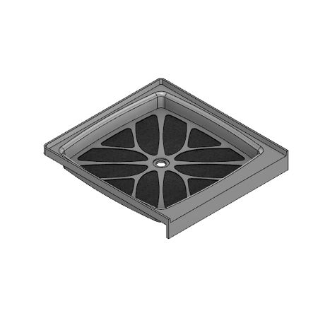 48 x 48 Center Drain Meridian Solid Surface Shower Base