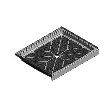 48 x 38 Center Drain Meridian Solid Surface Shower Base