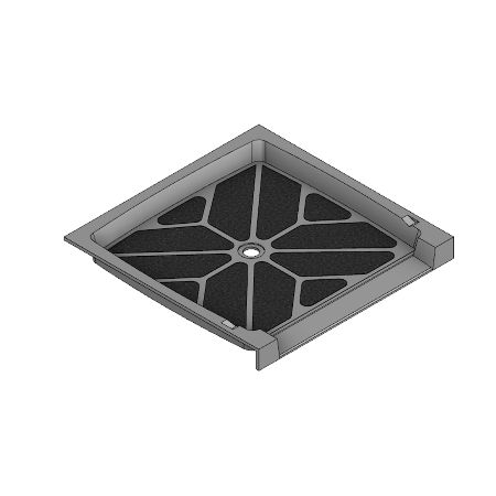 42 x 42 Accessible Center Drain Meridian Solid Surface Shower Base