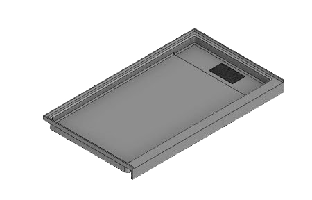 60 x 36 Variable End Trench Drain Meridian Solid Surface Shower Base