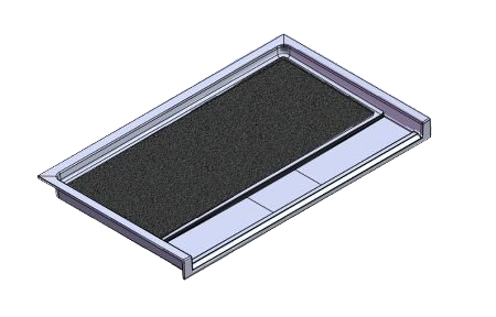 61.5 x 36.75 Accessible Front Trench Drain Meridian Solid Surface Shower Base