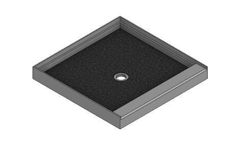 Meridian Solid Surface Custom ELITE Shower Base with Integral Raised Threshold