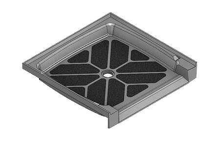 feature picture of 37.5 x 36.75 Accessible Center Drain Tower Industries Solid Surface Shower Base – ADA Compliant